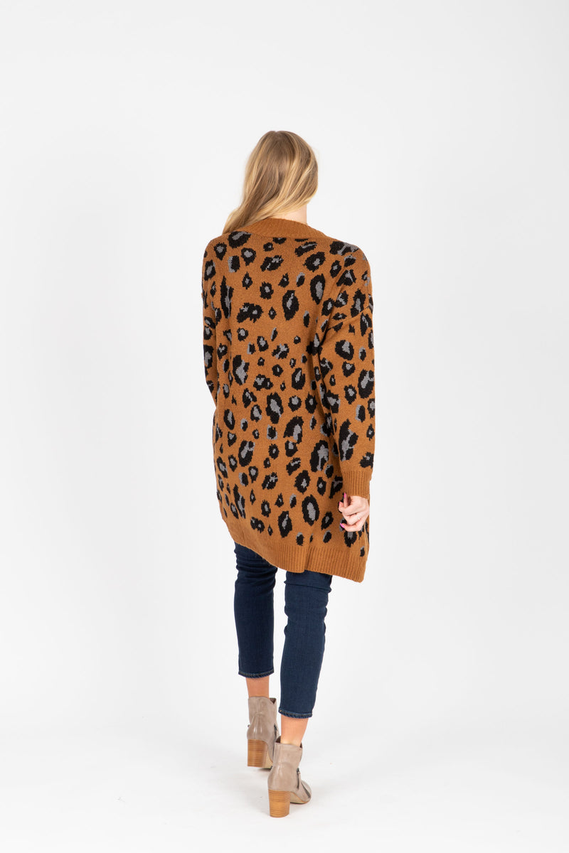 The Sebastian Leopard Cardigan Sweater in Camel, studio shoot; back view
