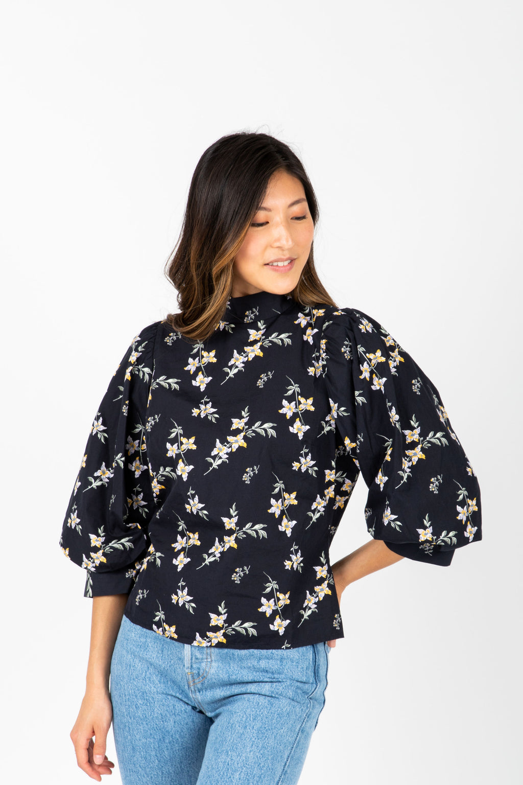 Levi's: High Neck Floral Balloon Sleeve Blouse in Navy, studio shoot; front view