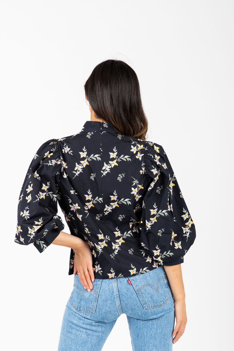 Levi's: High Neck Floral Balloon Sleeve Blouse in Navy, studio shoot; back view