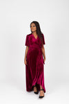 The Banton Pleated Velvet Maxi Dress in Burgundy, studio shoot; front view