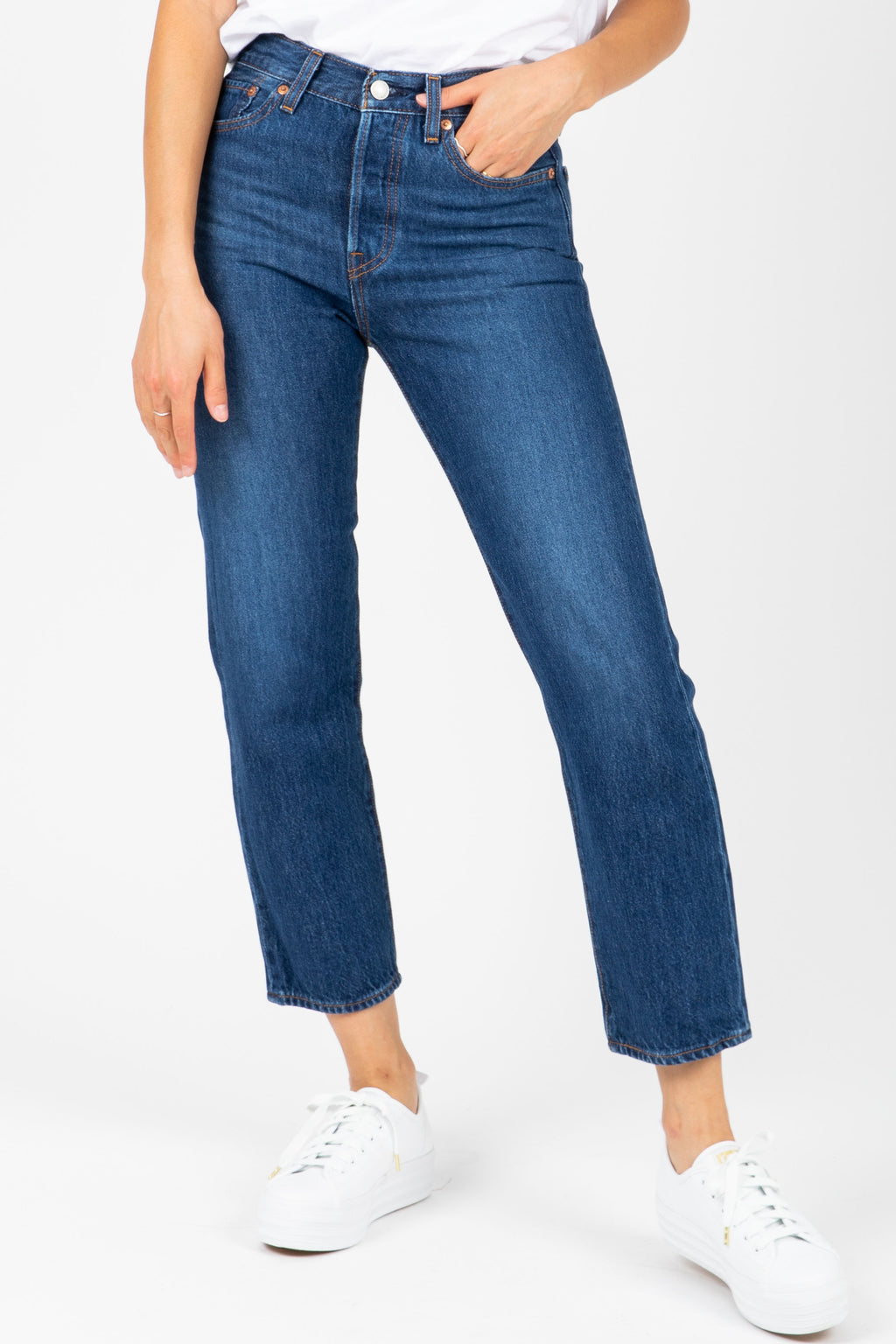 Levi's: Wedgie Fit Straight Jeans in Medium Dark Wash
