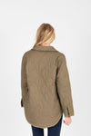 The Tanya Quilted Jacket in Olive, studio shoot; back view