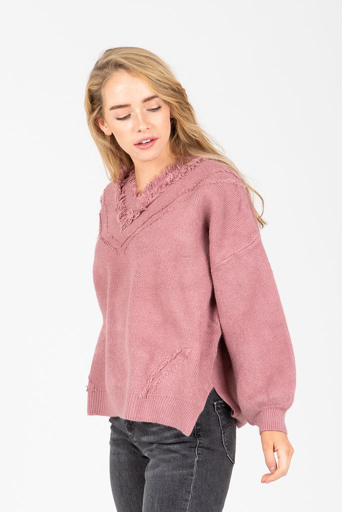 The Cumberland Fringe Sweater in Mauve