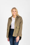 The Tanya Quilted Jacket in Olive, studio shoot; front view