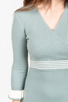 The Ella Ribbed Wrap Top Dress in Sage