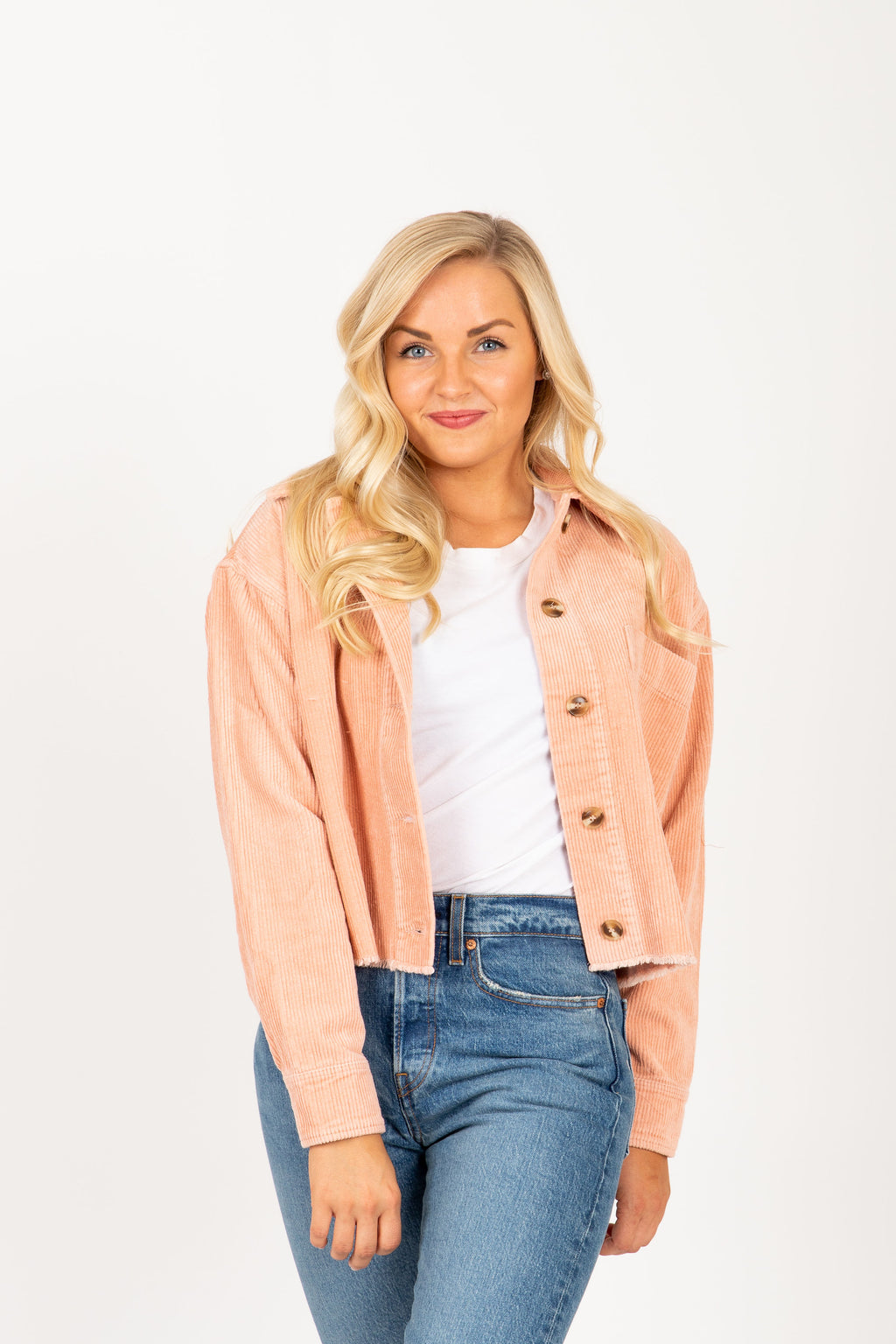 The Wonder Corduroy Raw Hem Jacket in Blush, studio shoot; front view