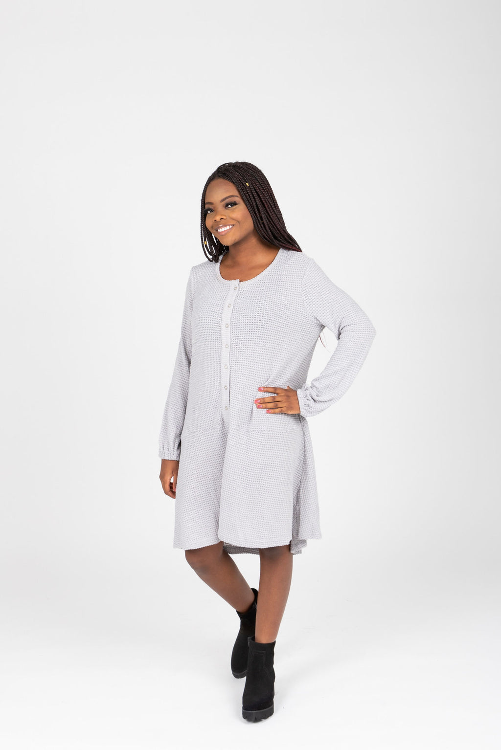 The Gobi Waffle Casual Dress in Grey