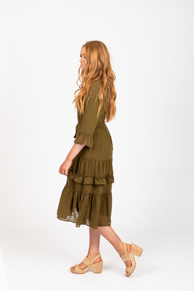 The Hallie Swiss Dot Ruffle Dress in Moss, studio shoot; side view