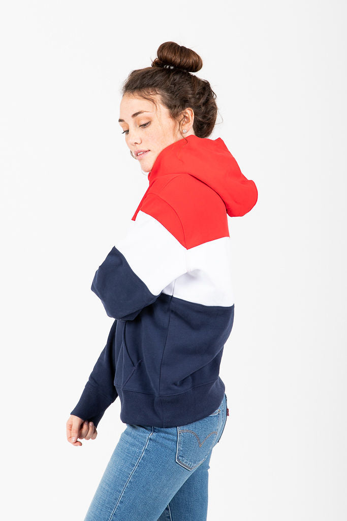 Levi's: Colorblock Sport Hoodie in White Red & Blue