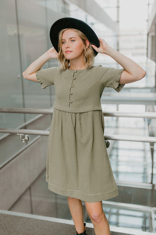 The Shanty Tie Button Down Dress in Black