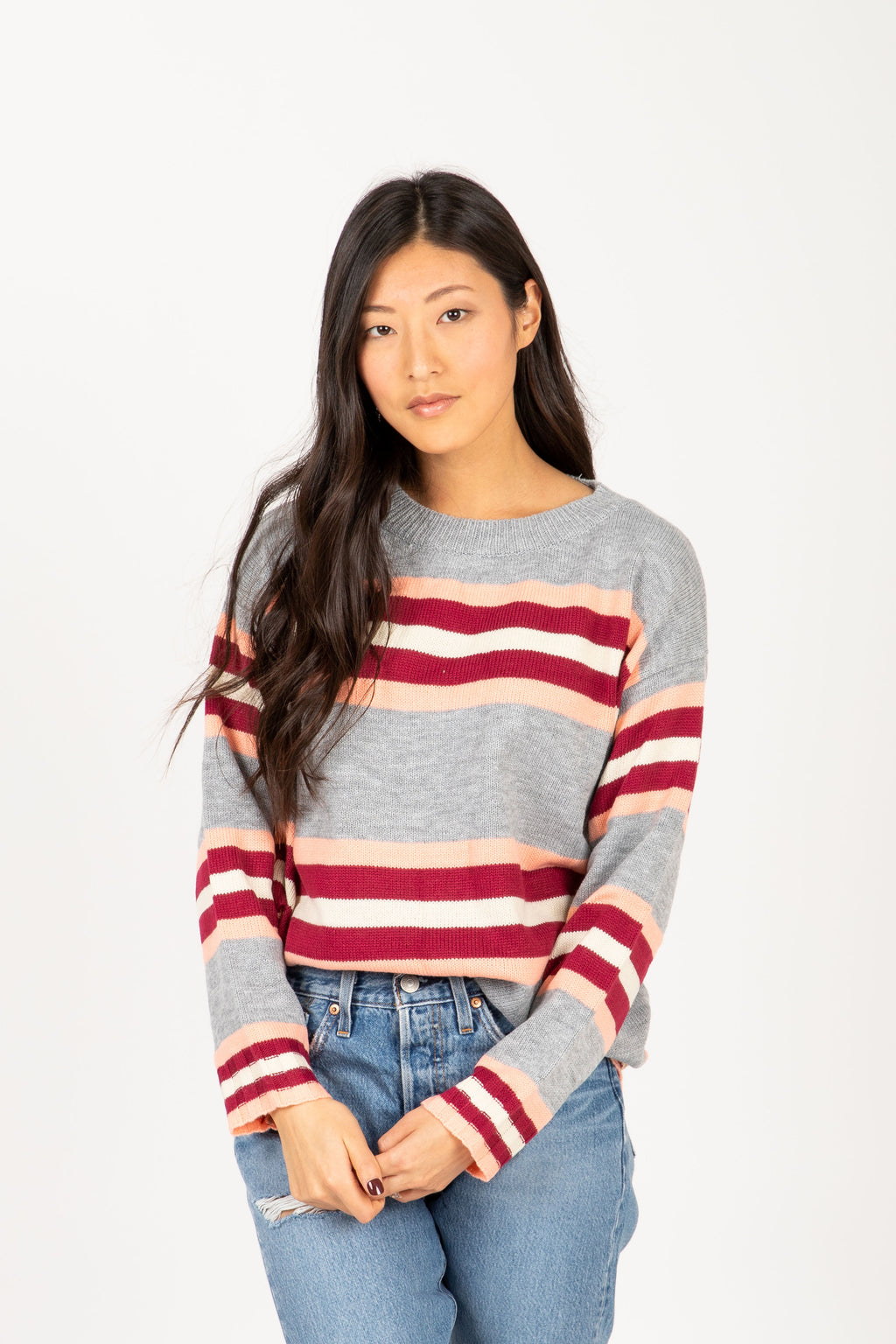 The Elevate Striped Break Sweater in Heather Grey, studio shoot; front view