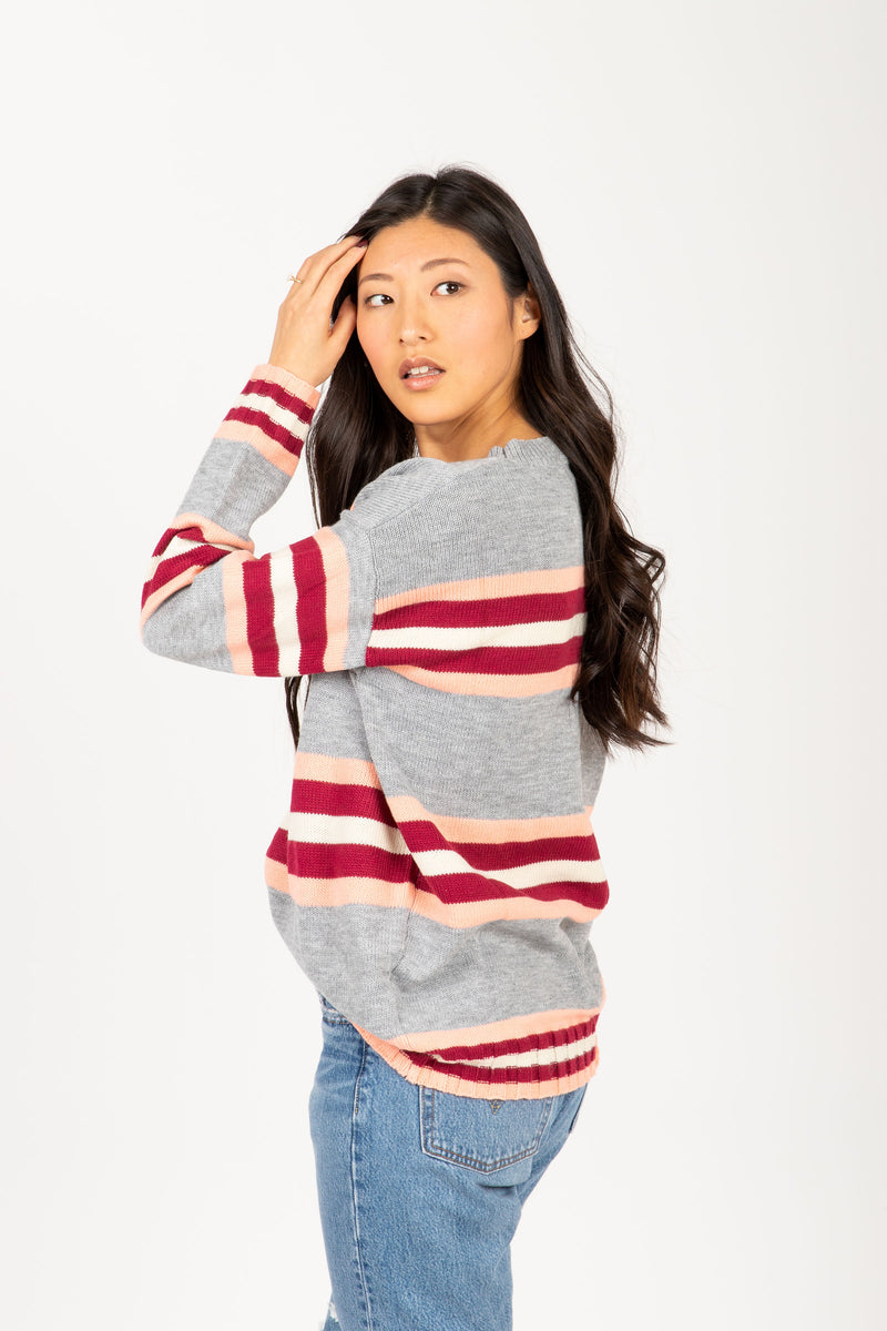 The Elevate Striped Break Sweater in Heather Grey, studio shoot; side view