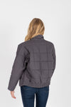 The Mindy Quilted Bomber Jacket in Charcoal, studio shoot; back view
