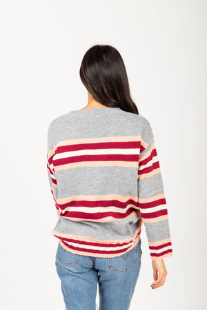 The Elevate Striped Break Sweater in Heather Grey, studio shoot; back view