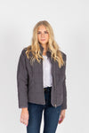 The Mindy Quilted Bomber Jacket in Charcoal, studio shoot; front view