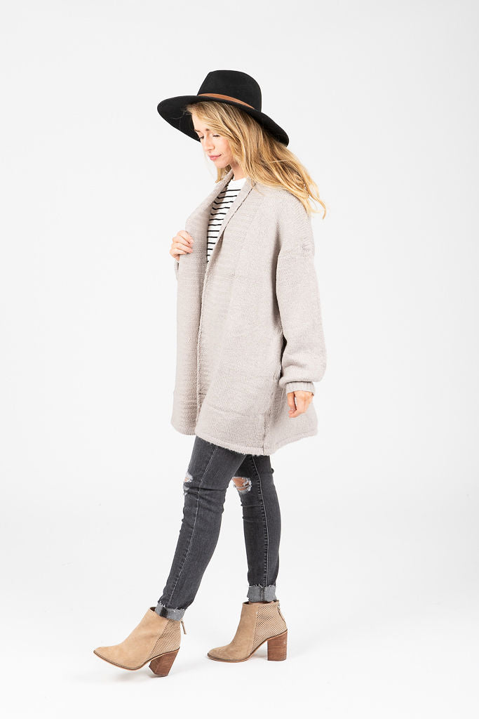 The Chilton Ribbed Cardigan in Light Grey
