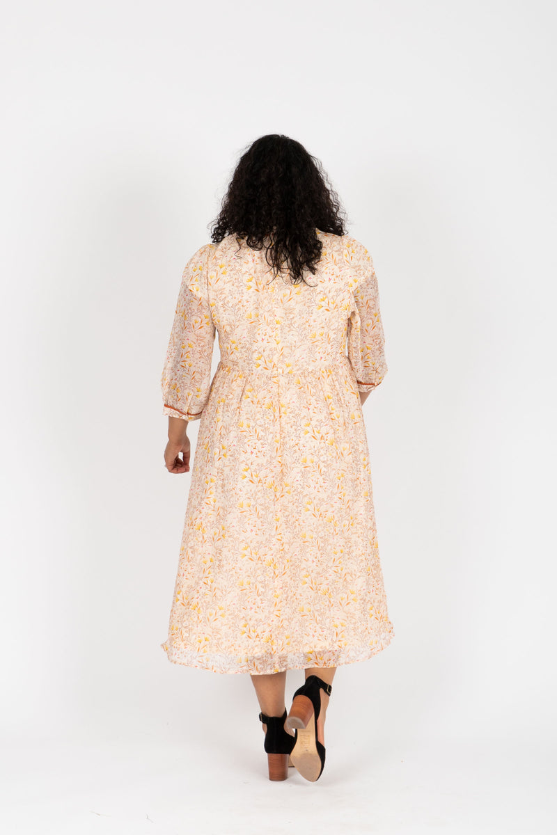 Piper & Scoot: The Chandler Patterned Detail Dress in Natural, studio shoot; back view