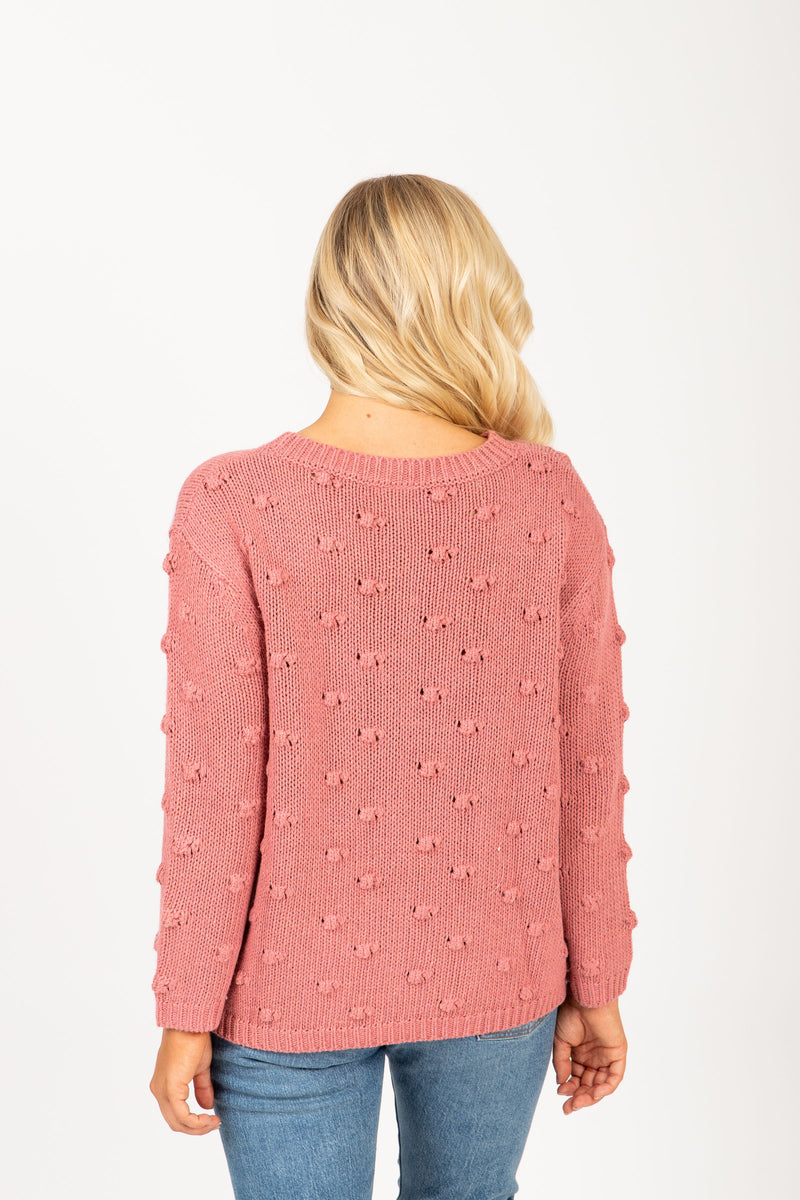 The Mist Pom Sweater in Mauve, studio shoot; back view