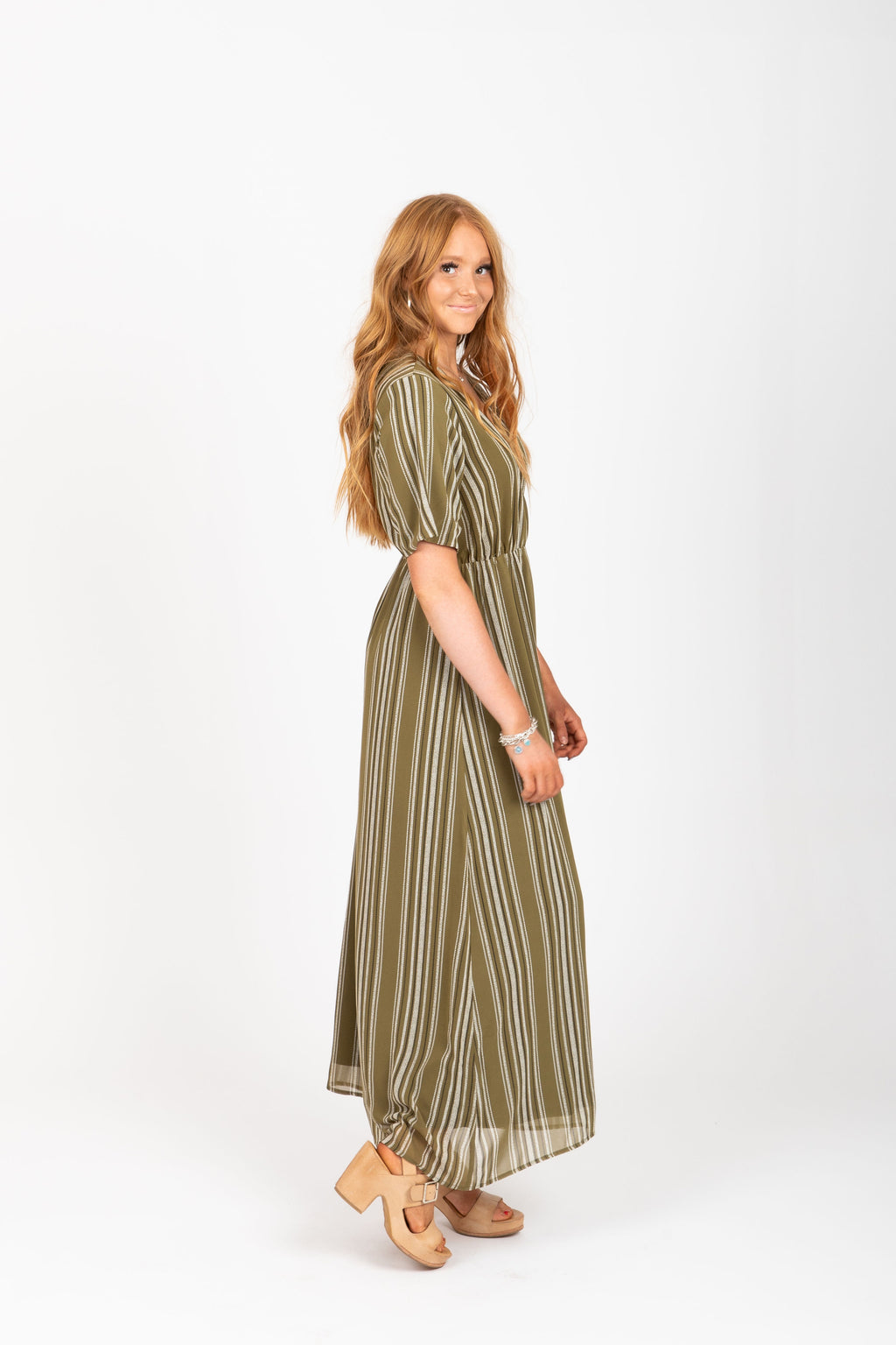 The Larsen Striped Maxi Dress in Olive