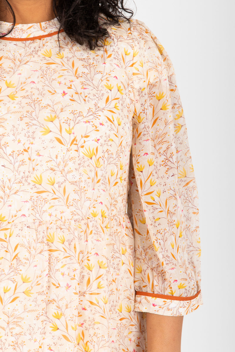 Piper & Scoot: The Chandler Patterned Detail Dress in Natural, studio shoot; closer up front view