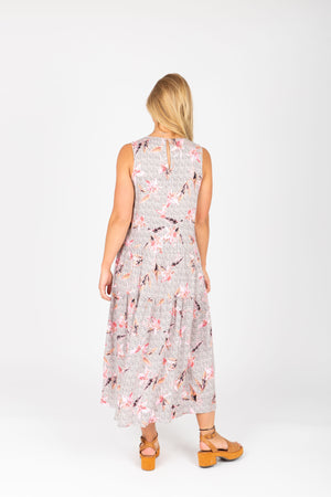 The Renata Floral Tiered Tank Dress in Natural, studio shoot; back view