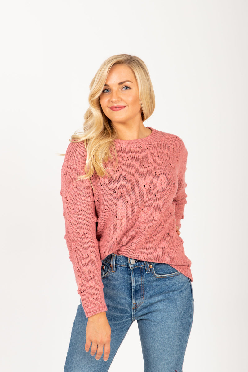 The Mist Pom Sweater in Mauve, studio shoot; front view