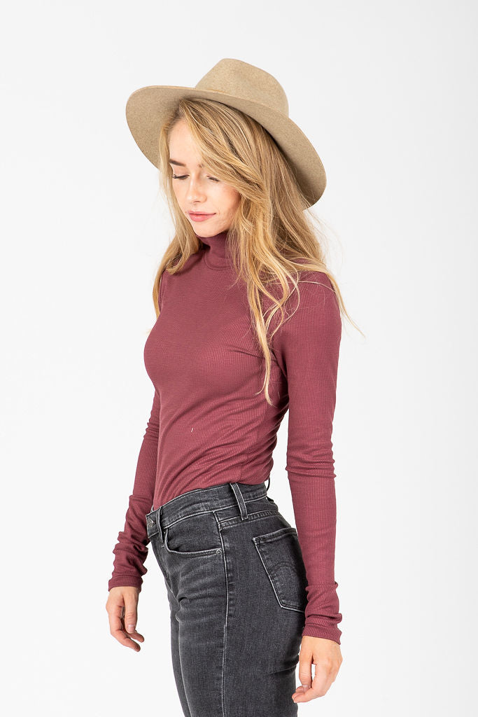 The Appleton Waffle Knit Mock Neck Blouse in Mauve