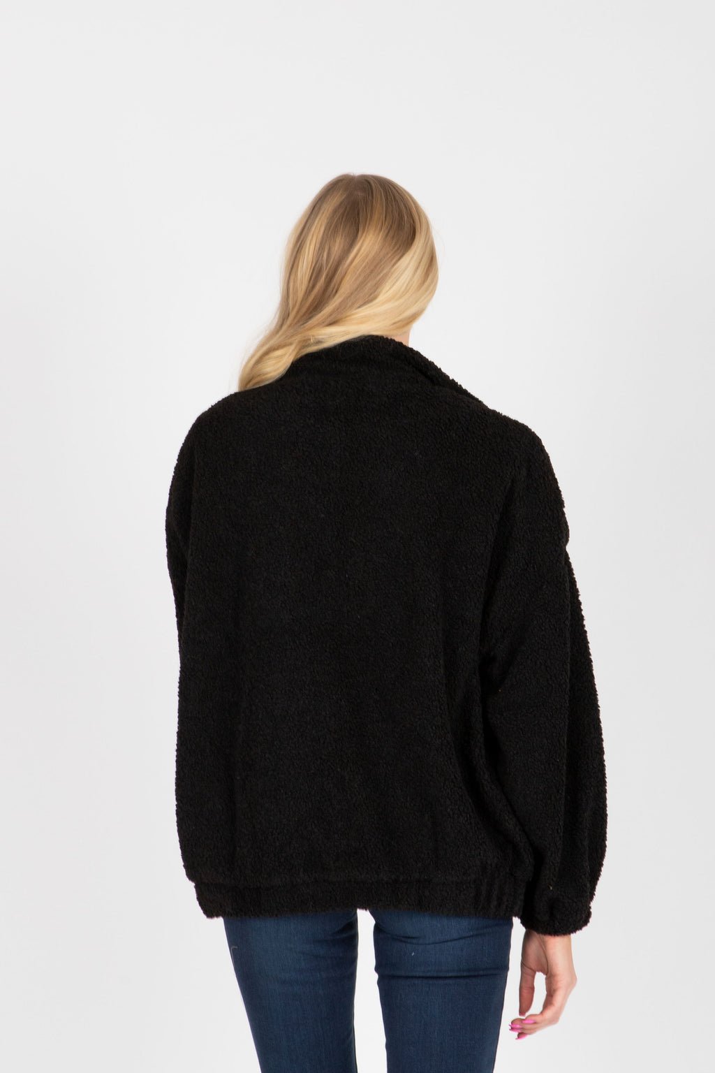 The Barry Sherpa Zip Up Jacket in Black, studio shoot; back view