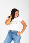 Levi's: Logo Perfect Graphic Tee in White Cactus, studio shoot; front view