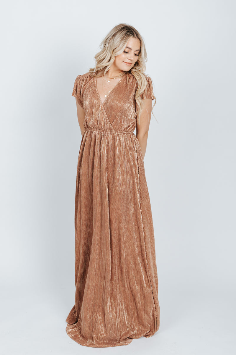 The Stella Shimmer Dress in Gold