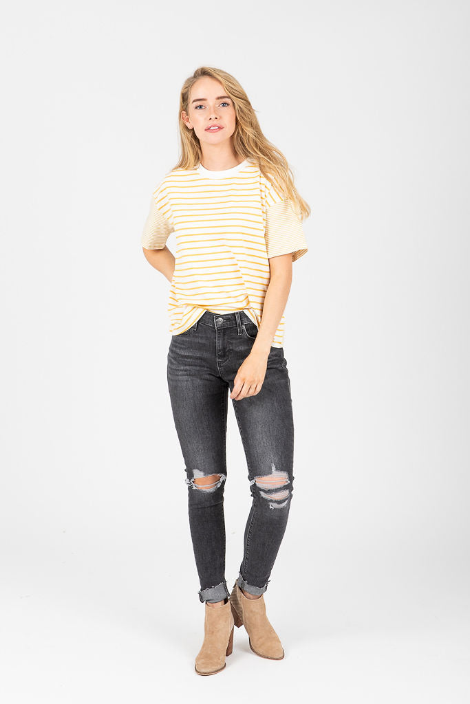 The Alfie Striped Tee in Mustard