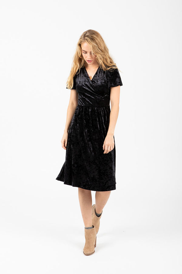 The Vera Velvet Dress in Black