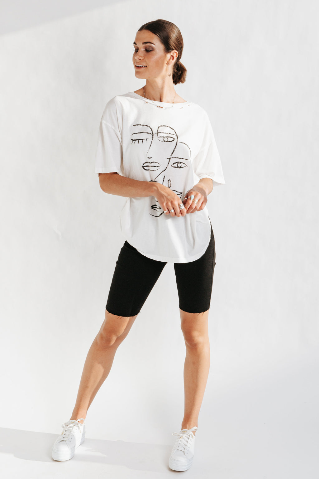 The Gals Graphic Tee in Ivory, studio shoot; front view