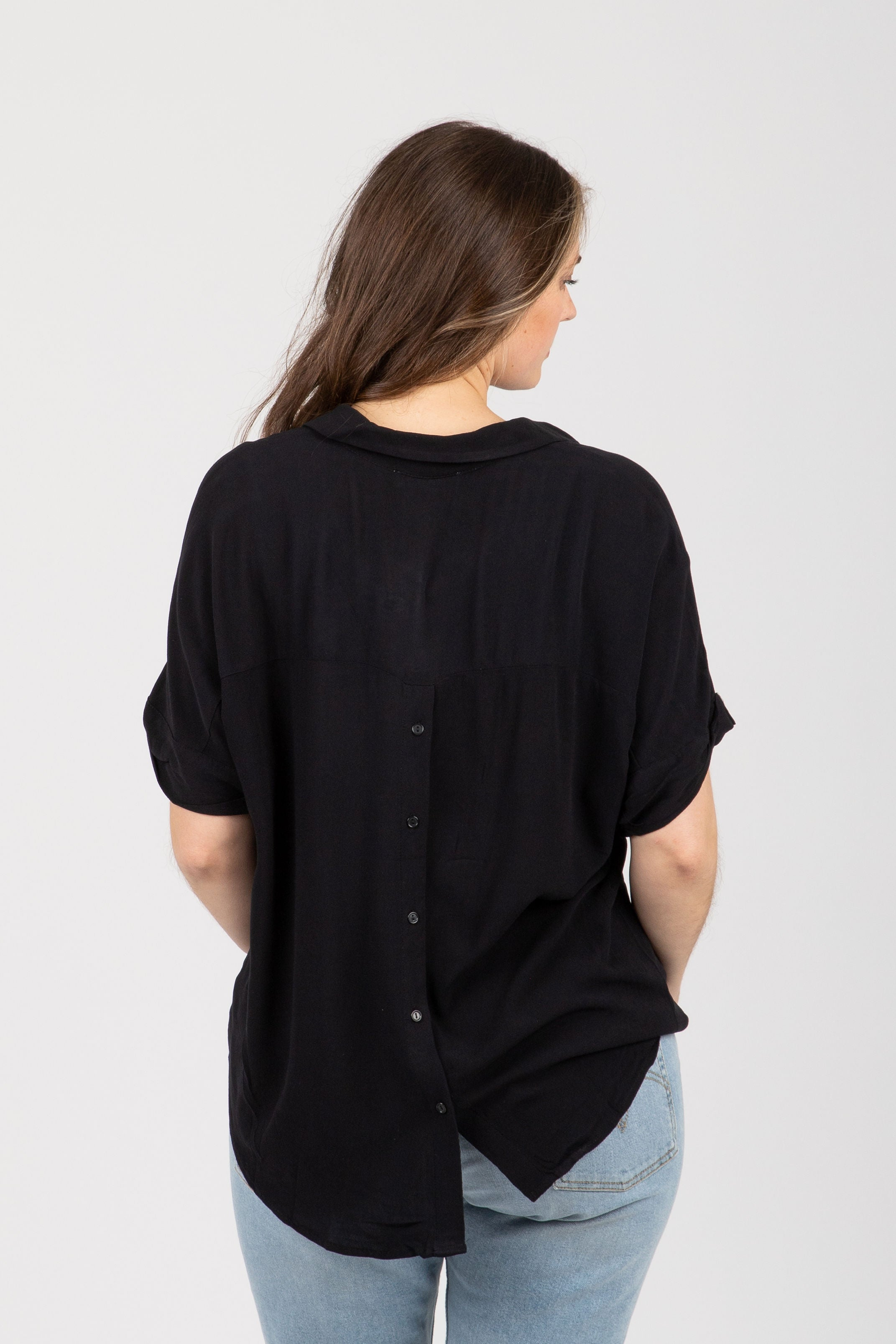 The Rule Collared Popover Blouse in Black
