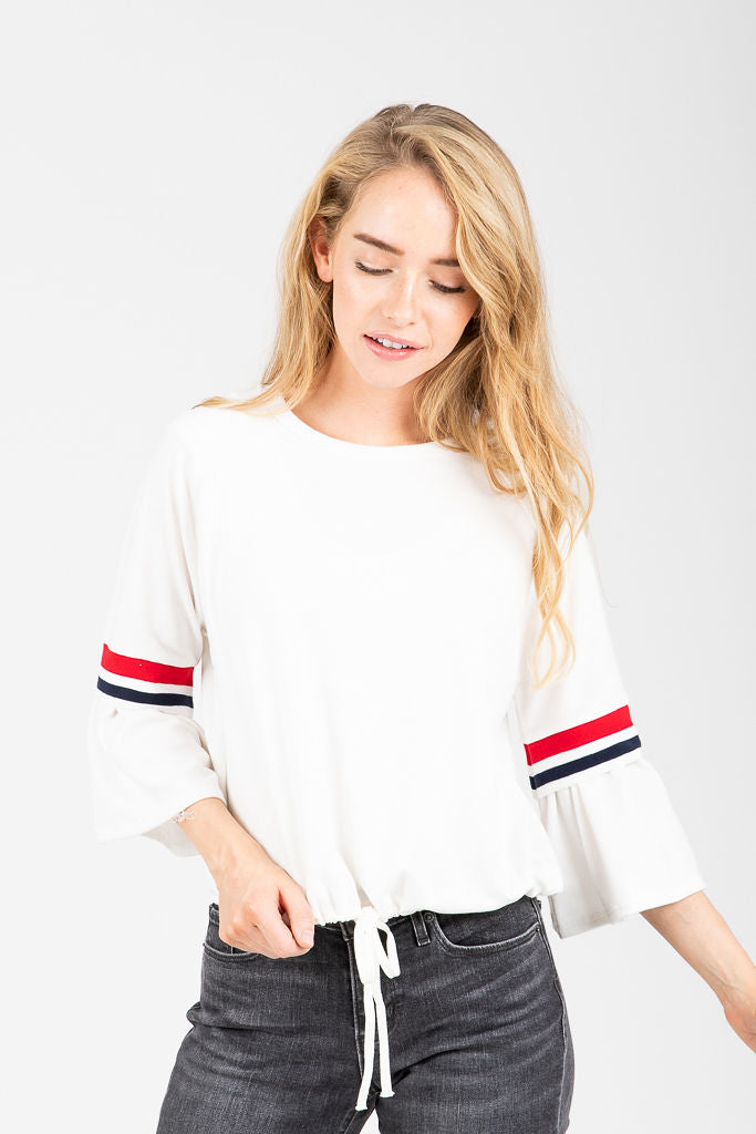 The Lyona Peplum Sleeve Blouse in White