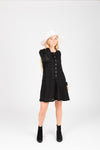 The Gobi Waffle Casual Dress in Black, studio shoot; front view
