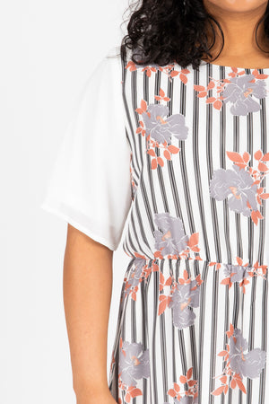 Piper & Scoot: The Escape Striped Floral Dress in Light Grey