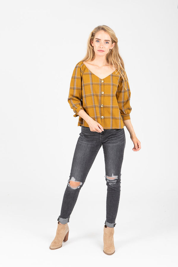 The Galesville Plaid Button Blouse in Mustard