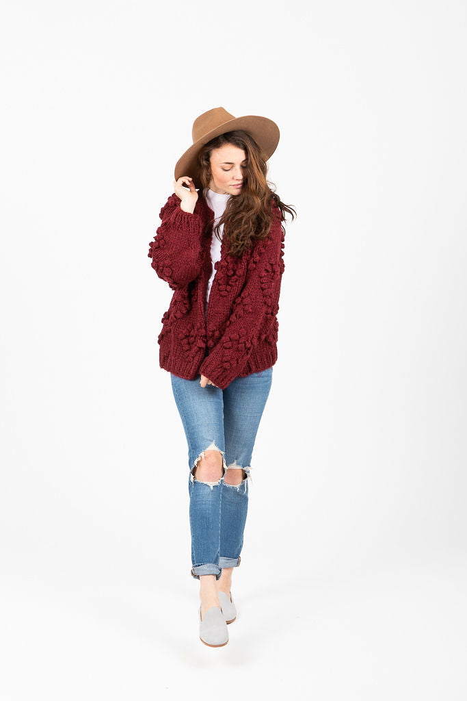 The Stewart Heart Crochet Cardigan in Garnet