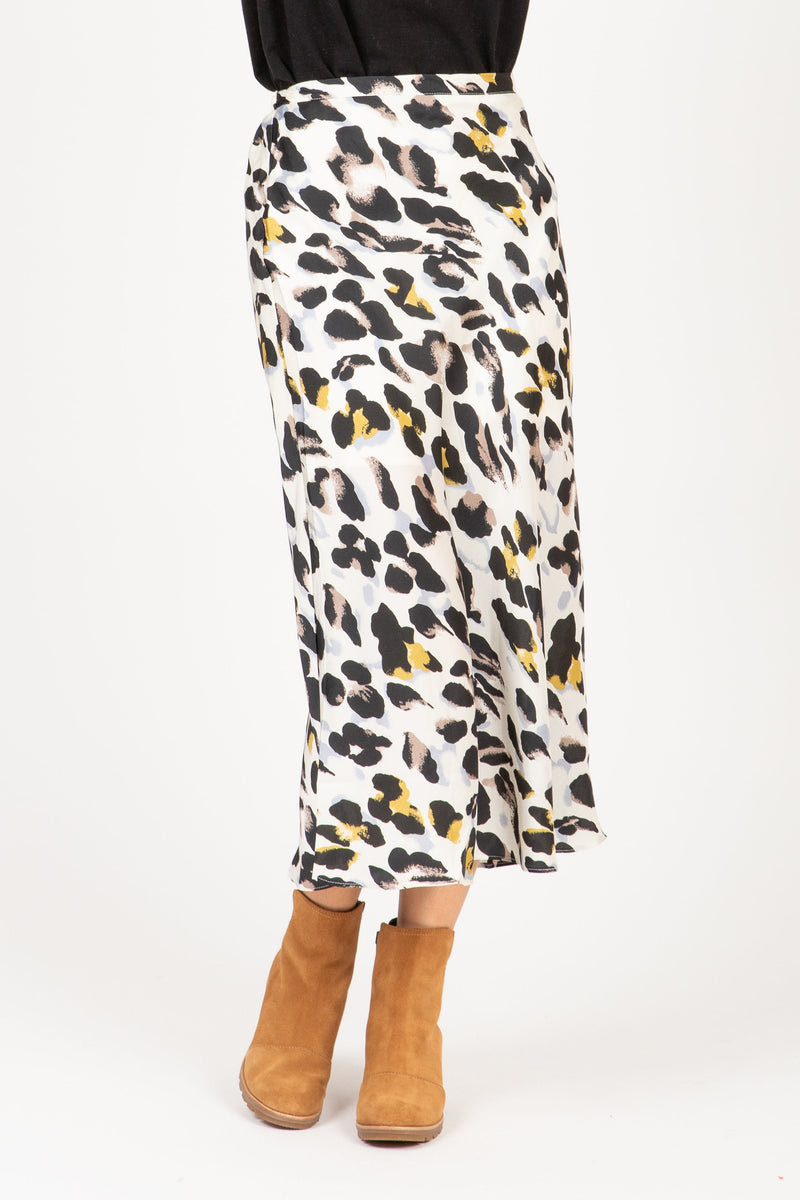 The Henri Leopard A-Line Skirt in Cream, studio shoot; front view
