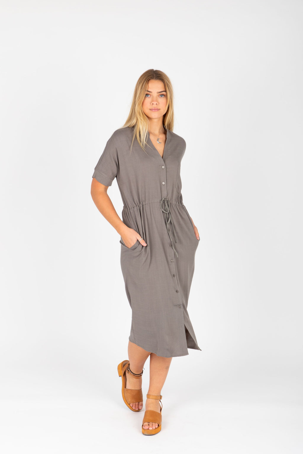 The Lacey Button Casual Dress in Stone, studio shoot; front view