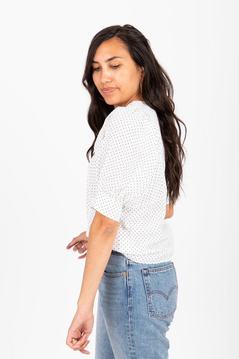 The Suit Dot Puff Sleeve Blouse in White