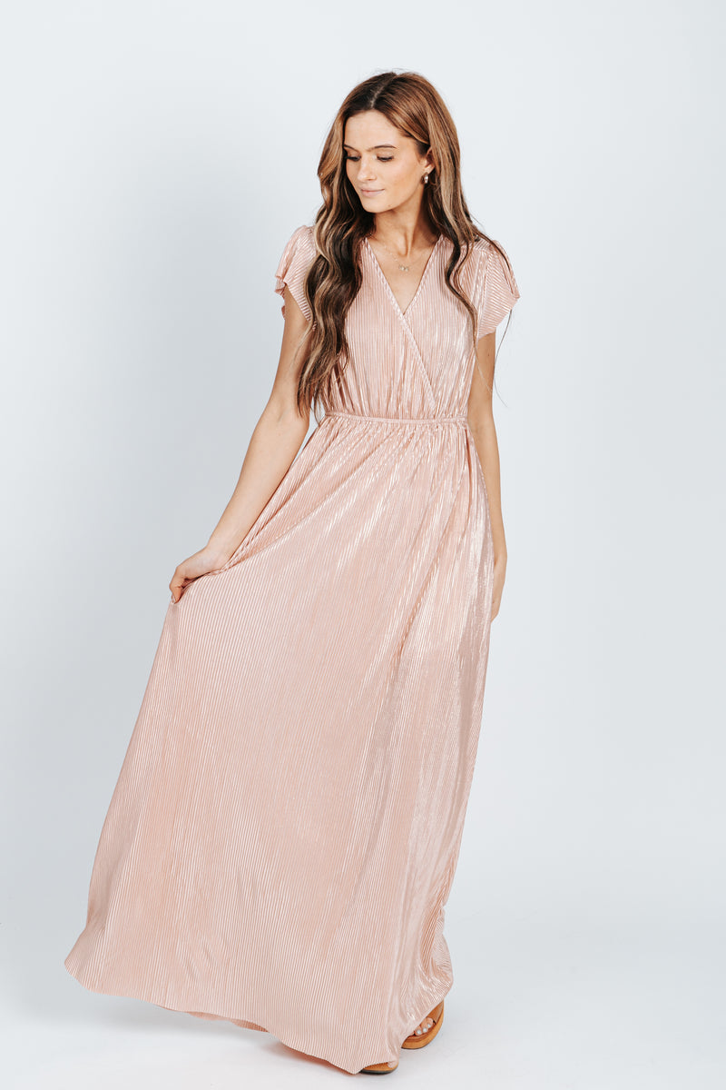 The Stella Shimmer Dress in Blush