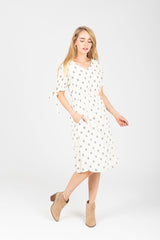 The Cusick Patterned Tie Sleeve Dress in White