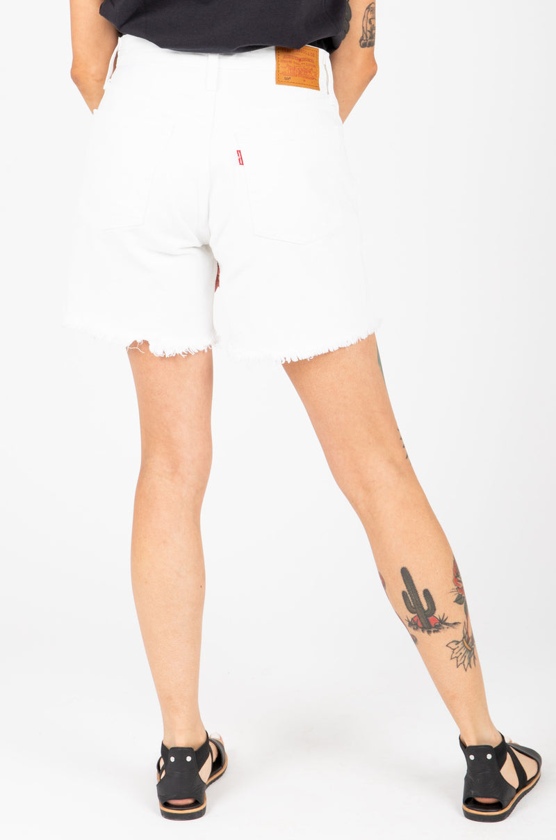 Levi's: 501 Mid Thigh Womens Shorts in White, studio shoot; back view