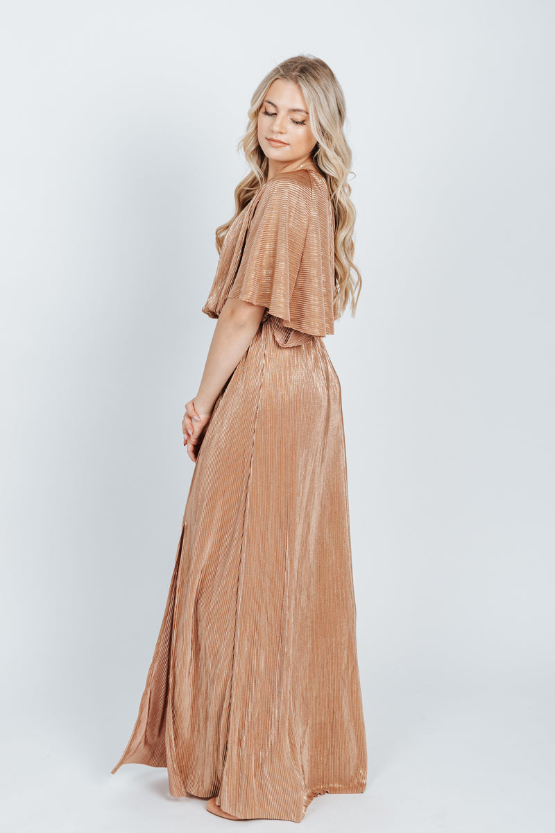 The Anastasia Shimmer Dress in Gold