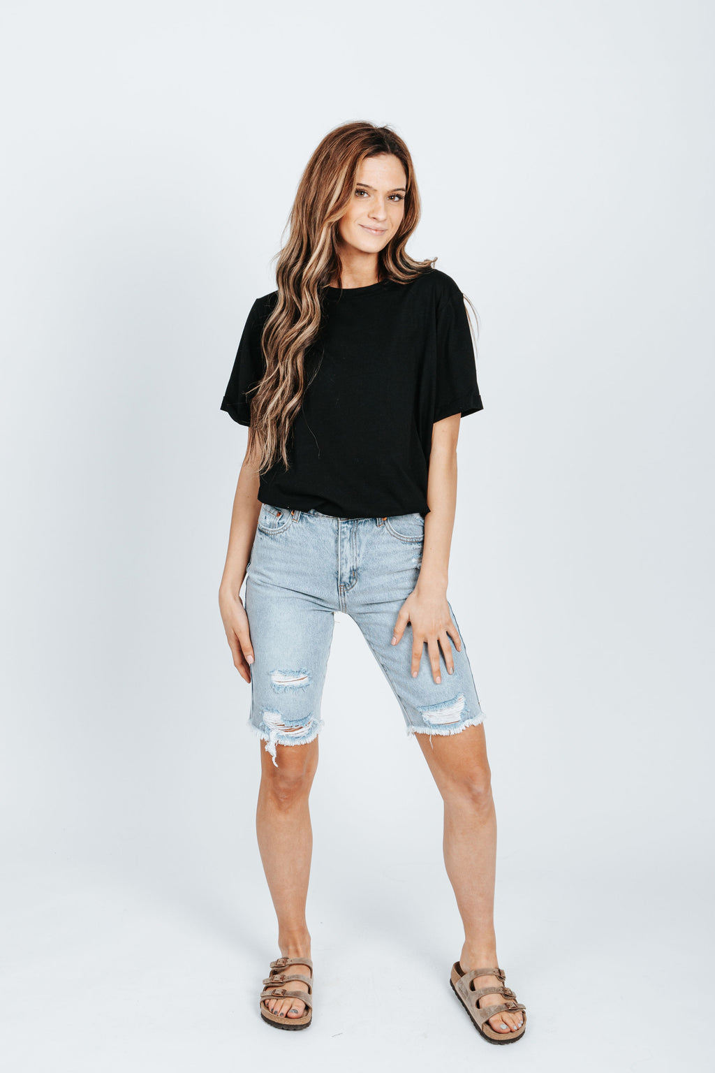 The Boyfriend Denim Bermuda Short in Light Wash, studio shoot; front view