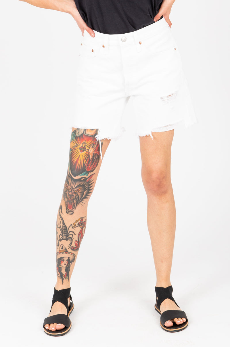 Levi's: 501 Mid Thigh Womens Shorts in White, studio shoot; front view