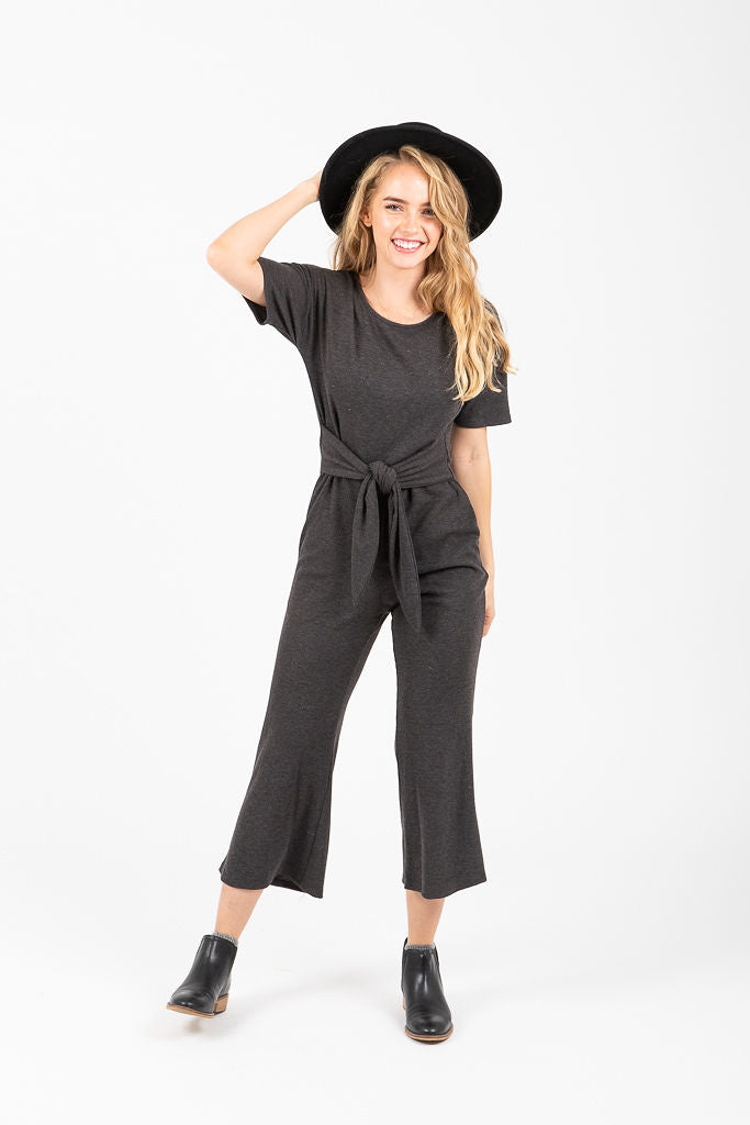 The Triplet Tie Jumpsuit in Charcoal