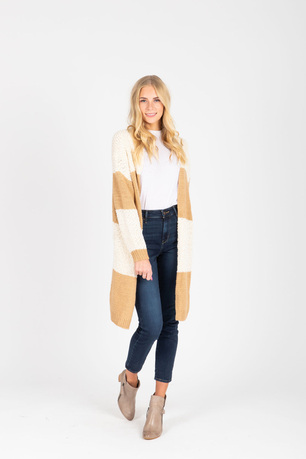 The Annelle Block Cardigan in Tan, studio shoot; front view